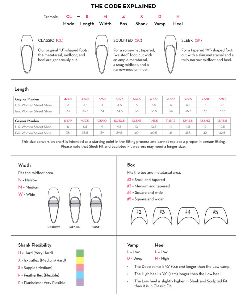 gaynor minden pointe shoes sizing chart