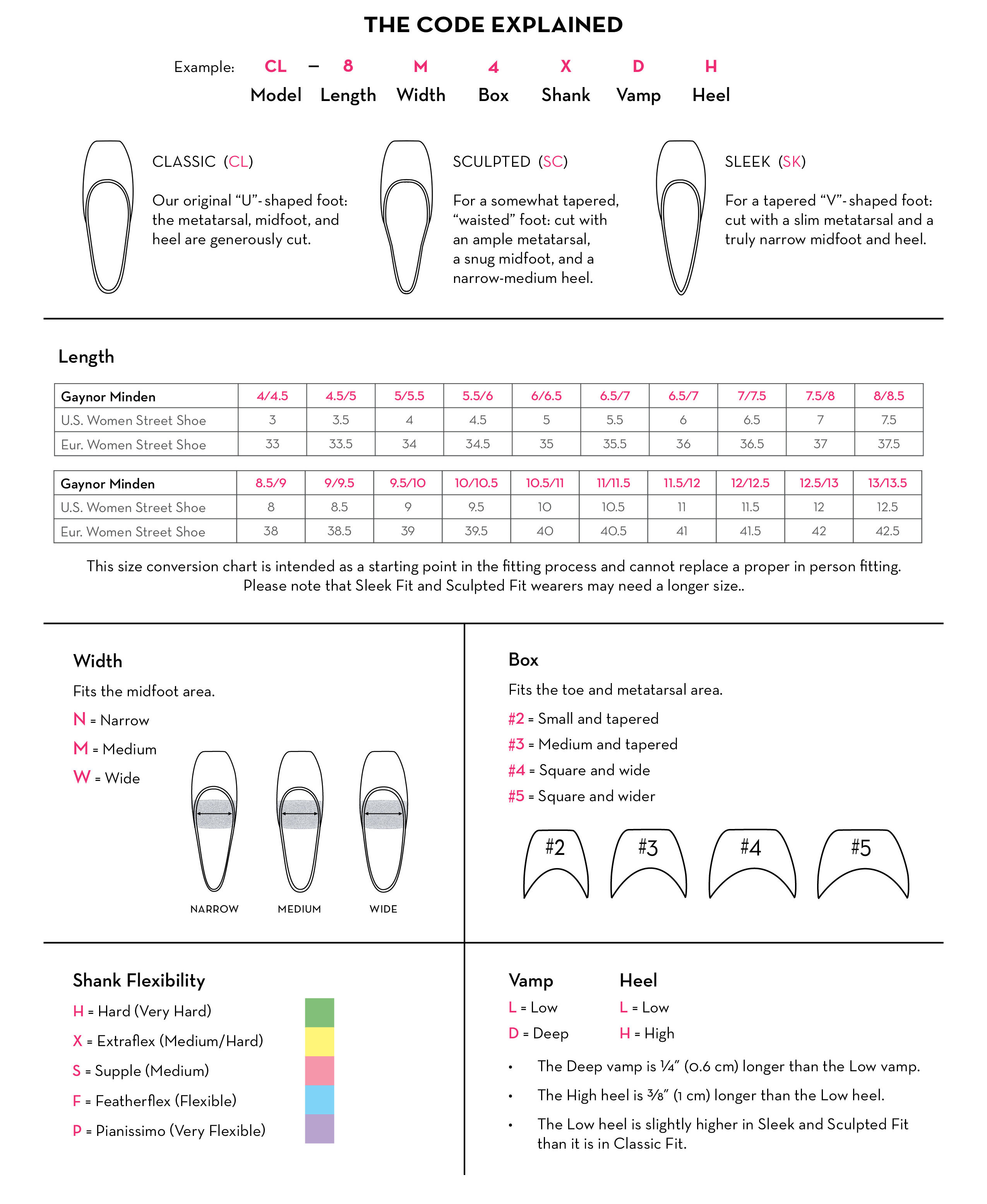 Printable Band Shoe Size Chart