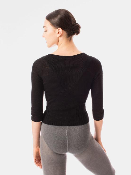 Italian Knit V Neck Top Back BLK